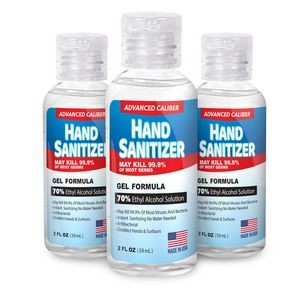 2 oz Advanced Caliber GEL Hand Sanitizer Bottle 70% Alcohol USA Made